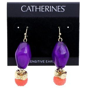 3/$20 Catherines purple and pink dangle earrings